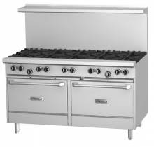 "Garland G Series 60"" Gas Restaurant Range with 10 Burners and 2 Ovens 