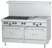 "Garland G Series 60"" Gas Range with 24"" Raised Griddle/Broiler, 6 Burners and 2 Ovens 