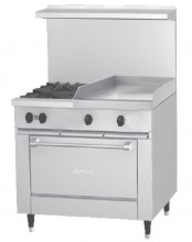 "Garland X36-2G24S Sunfire™ X Series 36"" Gas Restaurant Range with 24"" Griddle, 2 Burners and Storage Base 