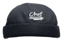 Chef Beanie with Logo , 100% Cotton , Black  H060BK | Smallwares | Zanduco CA