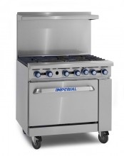 "Imperial IR-6 6 Open Burners - (1) 26.5"" Wide Oven  IR-6 