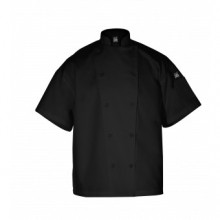 Knife & Steel B™Short Sleeve Chef Jacket,PC-Blend,Black J005BK | Smallwares | Zanduco US