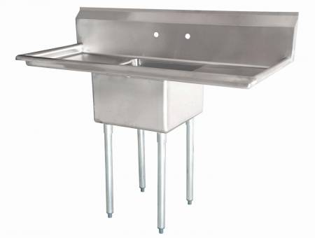 "Zanduco 18"" X 18"" X 11"" One Tub Sink with 1.8"" Corner Drain and Two Drain Board 