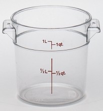 Cambro 1 Qt Food Storage Container - Round - Camwear - Polycarbonate - Clear -  RFSCW1   Case Pack 12 |  | Zanduco CA