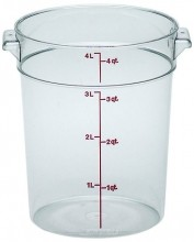 Cambro 4 Qt Food Storage Container - Round - Camwear - Polycarbonate - Clear -  RFSCW4   Case Pack 12 |  | Zanduco CA