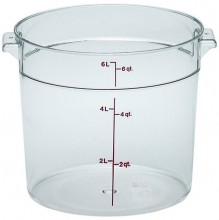 Cambro 6 Qt Food Storage Container - Round - Camwear - Polycarbonate - Clear -  RFSCW6   Case Pack 12 |  | Zanduco CA