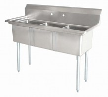 "Zanduco 18"" X 18"" X 11"" Three Tub Sink with 1.8"" Corner Drain and No Drain Board 