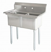 "Zanduco 18"" X 21"" X 14"" Two Tub Sink with 1.8"" Corner Drain and No Drain Board 