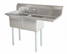 "Zanduco 24"" X 24"" X 14"" Two Tub Sink with 1.8"" Corner Drain and Right Drain Board 