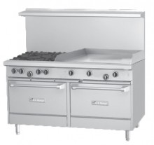 "Garland U60-4G36RR U Series 60"" Gas Restaurant Range with 36"" Griddle, 4 Burners and 2 Ovens 