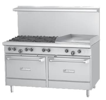 "Garland U60-6G24RR U Series 60"" Gas Restaurant Range with 24"" Griddle, 6 Burners and 2 Ovens 