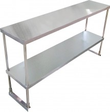 "SS Overshelf Double Tier 14"" x 48"" x 32"" with SS Leg and Socket 