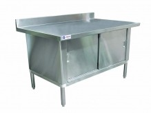 "Worktable Cabinet - 30"" x 72"" with 3"" Overhangs and 4"" Backsplash 