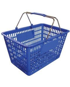 "18.75"" X 11.5"" Plastic Grocery Market Shopping Basket - Blue"