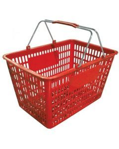 """18.75"""" X 11.5"""" Plastic Grocery Market Shopping Basket - Red"""