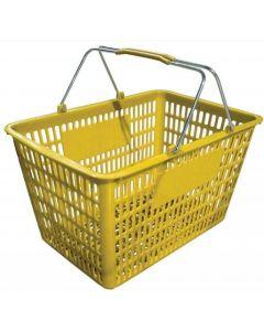 "18.75"" X 11.5"" Plastic Grocery Market Shopping Basket - Yellow"