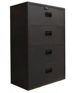 """Black Legal Lateral File Cabinet with Four Drawers - 36"""""""