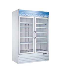 "Zanduco 53"" 2-Door Swing Glass Merchandiser Freezer - White 45 cu. ft."