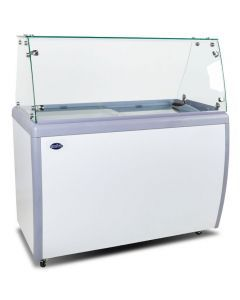 """Zanduco 60"""" Ice Cream Dipping Cabinet / Freezer with Flat Sneeze Guard and 370 L Capacity"""