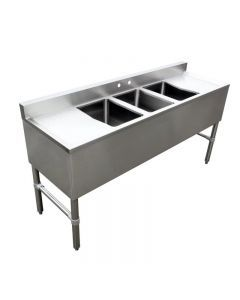 """3 Compartment Underbar Sink with No Drain Board 10"""" X 14"""" X 10"""" with Left and Right Drainboard"""