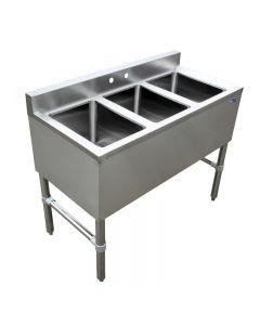 "3 Compartment Underbar Sink 10"" X 14"" X 10"" with No Drain Board"