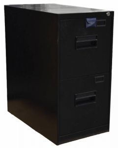 Black Legal Vertical File Cabinet with Two Drawers