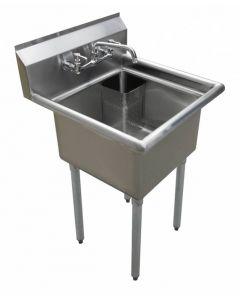 "Zanduco 18-Gauge Stainless Steel 18"" X 18"" X 11"" One Tub Sink with 1.8"" Corner Drain and No Drain Board"