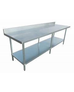 "Zanduco 24"" x 84"" Heavy Duty All Stainless Steel Worktable with Backsplash"