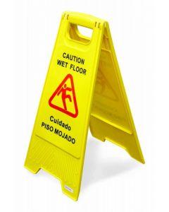 A-Shape Wet Floor Caution Sign - English/Spanish Yellow