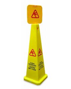 Square Caution Cone - English/Spanish Yellow