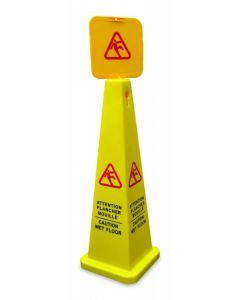 Square Caution Cone - English/French Yellow