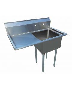"Zanduco 18-Gauge Stainless Steel 18"" X 18"" X 11"" One Tub Sink with 1.8"" Corner Drain and Left Drain Board"