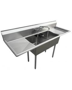 """Zanduco 18-Gauge Stainless Steel 18"""" X 18"""" X 11"""" Two Tub Sink with 1.8"""" Corner Drain and Two Drain Board"""