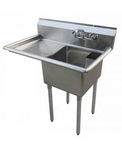 "Zanduco 18-Gauge Stainless Steel 18"" X 21"" X 14"" One Tub Sink with 1.8"" Corner Drain and Left Drain Board"