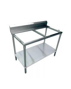 "Zanduco 30"" x 48"" Solid Poly Top Table  with Undershelf with 6"" Backsplash"