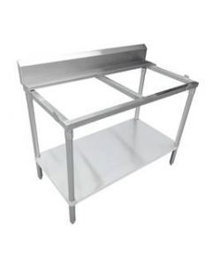 "Zanduco 30"" x 72"" Solid Poly Top Table with Undershelf with 6"" Backsplash"