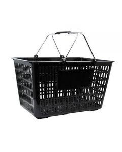 "18.75"" X 11.5"" Plastic Grocery Market Shopping Basket - Black"