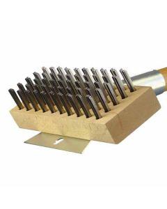 "30"" Versatile Oven & Grill Brush - Heavy-Duty Horizontal Scraper - Flat Carbon Steel Wires"