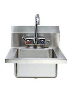 "Zanduco Fabricated Wall Mounted Hand Sink with 4"" Faucet & Drainbasket"