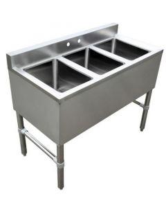 "3 Compartment Underbar Sink with No Drain Board 10"" X 14"" X 10"""