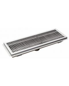 """12"""" X 36"""" Floor Trough 14 Gauge 304 Stainless Steel with Grating Bar"""