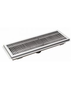 """12"""" X 48"""" Floor Trough 14 Gauge 304 Stainless Steel with Grating Bar"""