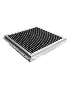"""18"""" X 18"""" Floor Trough 14 Gauge 304 Stainless Steel with Grating Bar"""