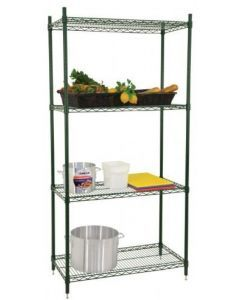 "Zanduco Heavy Duty Commercial Epoxy Shelf Set (4) 24"" X 60"" Shelves & (4) 72"" Posts With Levelers"