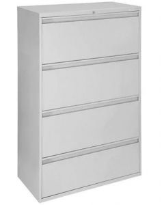 """Lateral File Cabinet - 36"""" Wide, 4 Drawer, Light Gray"""
