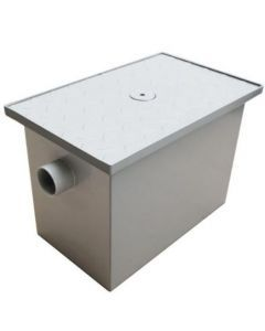 """Grease Trap 16"""" x 10"""" x 11"""" 8lbs Capacity with 2"""" Threaded Inlet and Outlet - Steel"""