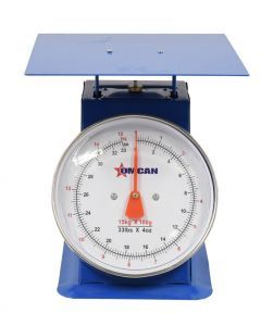 Dial Spring Scale with 15 kg / 33 lbs. Capacity and Stainless Steel Flat Plate
