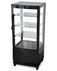 "Zanduco 17"" Countertop Four Sided Glass Refrigerated Showcase - Single Door"