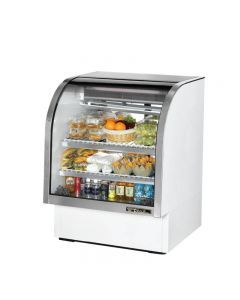 """True TCGG-36-LD 36"""" White Curved Glass Refrigerated Deli Case - 17 cu. ft."""