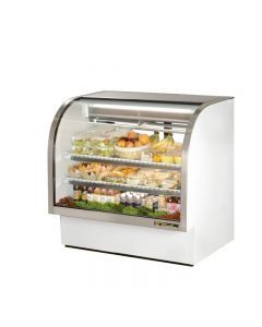 """True TCGG-48-LD 48"""" White Curved Glass Refrigerated Deli Case - 23.5 cu. ft."""